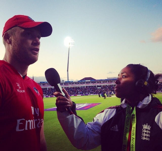 Ebony interviewing Andrew Flintoff for BBC