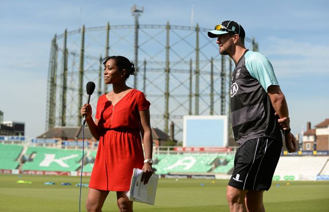 Ebony interviewing Kevin Pieterson at Kia Oval