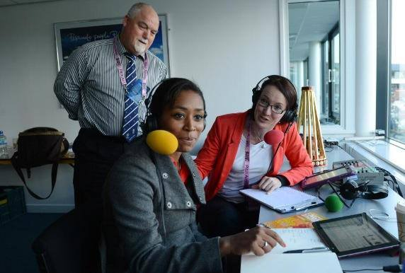 Ebony with Mike Gatting and Alison Mitchell